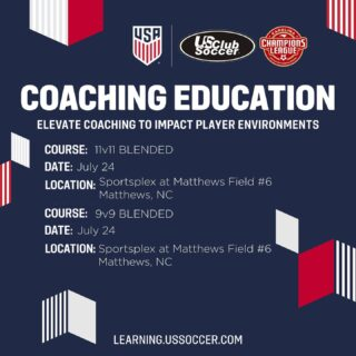 """We are happy to announce two Grassroots Courses for our league members through @ussoccer and @usclubsoccer!   """"By taking a Grassroots Course, candidates develop competencies to create enjoyable, safe and challenging learning environments for players of all ages"""" (US Soccer)  #CarolinaChampionsLeague #CoachingEducation #DedicatedToDevelopment """
